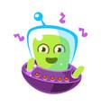 dancing alien in a flying saucer cute cartoon vector image vector image