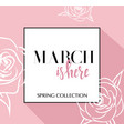 design banner with lettering march is here logo vector image vector image