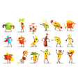fast food and healthy food cartoon characters set vector image vector image