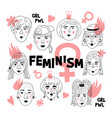 feminism poster womens faces informal girls vector image vector image