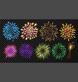 fireworks set festive carnival night sky vector image vector image