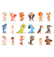 flat set of kids in carnival costumes cow vector image vector image
