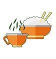 flat with cup of tea and rice vector image