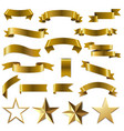 golden ribbons and stars set white background vector image vector image