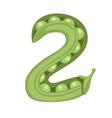 green peas number 2 style vegetable food cartoon vector image vector image