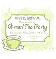 hand drawn green tea party invitation card vintage vector image vector image