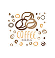 hand drawn original logo with coffee beans vector image vector image