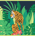 hand drawn tiger with exotic tropical leaves flat vector image vector image