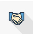 handshake thin line flat color icon linear vector image