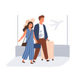 happy couple with suitcases and baggage in airport vector image