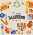 happy hanukkah typography card template vector image