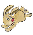 hare scared and runs away cartoon isolated vector image vector image