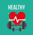 heartbeat weight fitness dumbbells healthy vector image