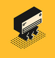 isometric air conditioner icon isolated on yellow