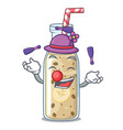 juggling sweet banana smoothie isolated on mascot vector image vector image