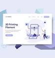 landing page template of 3d printing filament vector image vector image