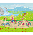 Mother and daughters biking in the park vector image vector image