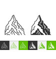 mountain climbing simple black line icon vector image