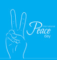 national day of peace outline peace gesture vector image vector image