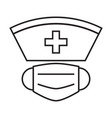 nurse hat and face mask simple medicine icon in vector image