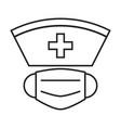 nurse hat and face mask simple medicine icon vector image