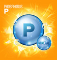 p phosphorus mineral blue pill icon vector image vector image