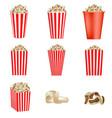 popcorn cinema box mockup set realistic style vector image vector image