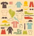 Retro Clothing Flat Design Icons Set vector image
