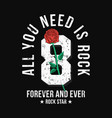 rock music style t-shirt design with red rose and vector image