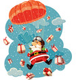 santa claus flying with parachute and gifts vector image vector image