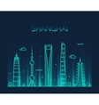 Shanghai City skyline silhouette line art vector image vector image