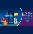 shopping online design concept on mobile vector image