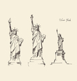 Statue of Liberty hand drawn vintage engraved vector image vector image