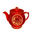 teapot of red porcelain gold ornament heart vector image vector image