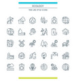 thin line design ecology icons vector image vector image