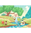 Young girl is running with dog in the nature vector image