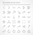 Set of outline arrow icons vector image