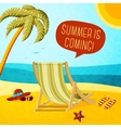 Cute summer poster - beach chair palm hat and vector image