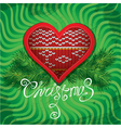 Christmas and New Year card with knitted heart vector image
