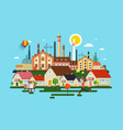 abstract city town with buildings houses factory vector image vector image