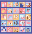 advent calendar trendy flat christmas icons flat vector image