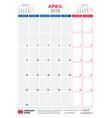 april 2018 calendar planner design template vector image vector image