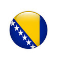 bosnia and herzegovina flag on button vector image