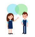boy and girl wearing school uniform and speech vector image vector image