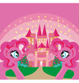 Card with a cute unicorns rainbow and fairy-tale vector image vector image