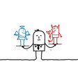 cartoon man with devil and angel in balance vector image vector image