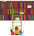 Children and books Education flat concept vector image vector image