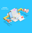 content strategy isometric flat concept vector image vector image