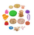 coral reef icons set isometric style vector image vector image