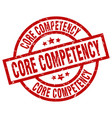 core competency round red grunge stamp vector image vector image